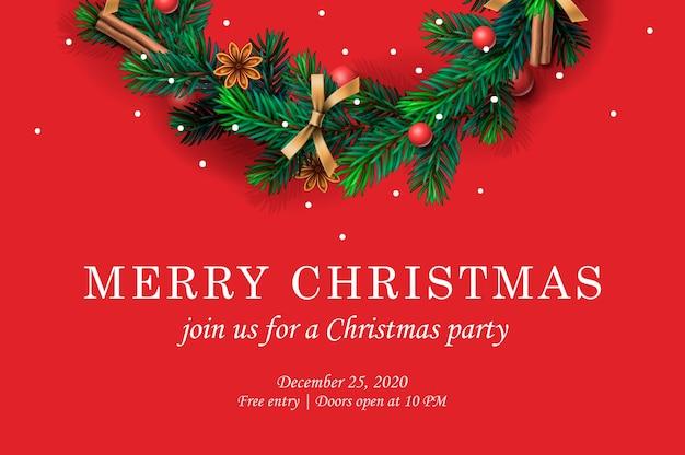 クリスマスリースとメリークリスマスパーティーの招待状。