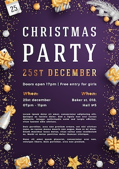 Merry christmas party layout poster poster or flyer template.