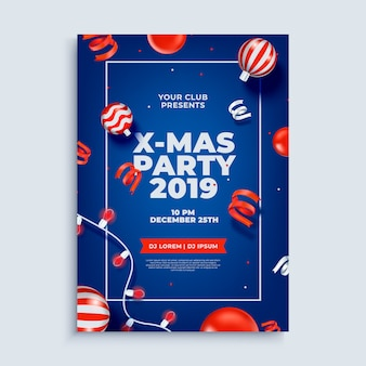 Merry christmas party layout poster template