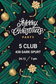 Merry christmas party lettering text with gift box, golden bows and christmas tree branches on black background. realistic style. vector