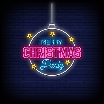 Merry christmas party neon signs style text vector