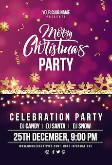 Merry christmas party poster or flyer template