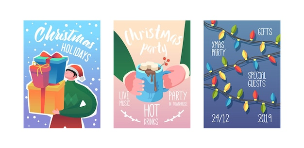 Merry christmas party poster, invitation, flyer template. xmas vintage banner greeting card with gifts and garland. vector illustration