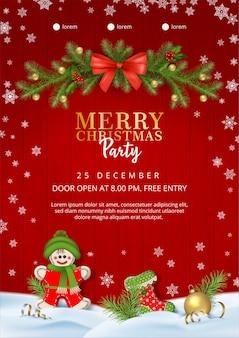 Плакат с рождественской вечеринкой с текстильными украшениями ручной работы
