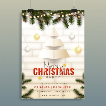 Merry christmas party poster with paper cut xmas tree, pine leaves and event details