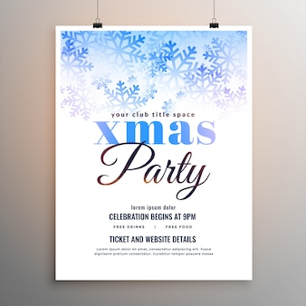 Merry christmas party white snowflakes flyer