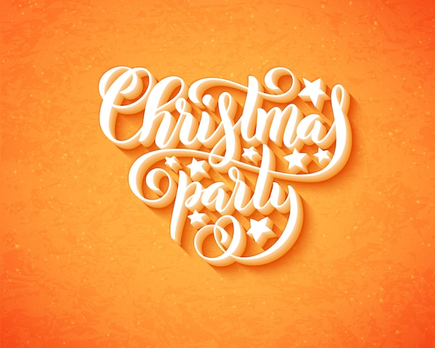Merry christmas party with hand drawn lettering