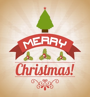 Merry christmas  over pattern background  vector illustration