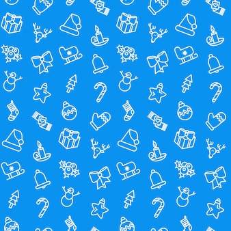 Merry christmas pattern in blue