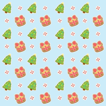 メリークリスマスパターンギフトとツリー
