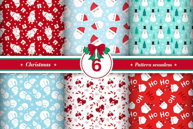 Merry christmas pattern seamless collection