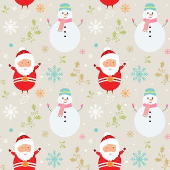 Merry christmas pattern with cute characters