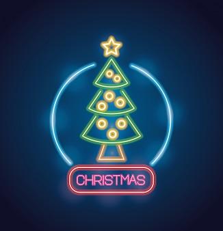 ネオンの明かりでメリークリスマスの松の木