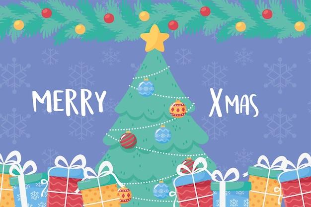 스타 공 및 선물 상자 장식 일러스트와 함께 메리 크리스마스 소나무