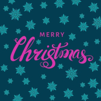 Merry christmas pink hand lettering with  snowflakes on blue  background. vector greeting  card.