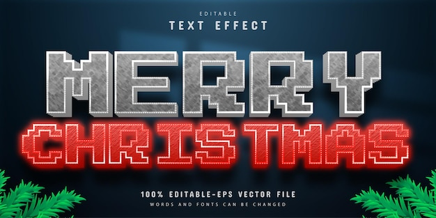 Merry christmas pixel style text effect