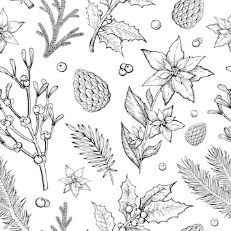 Merry christmas plants seamless pattern with pine branch