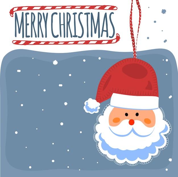 サンタクロースとメリークリスマスのポストカード。