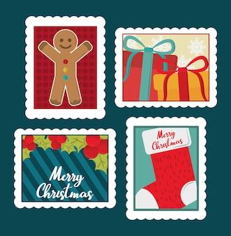 Набор почтовых марок с рождеством, пряничный человечек, подарки, иллюстрация чулок