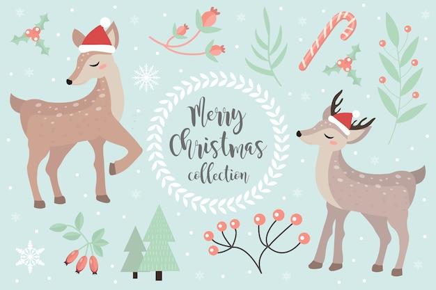 メリークリスマスポストカード。オブジェクトの冬の森のセットでかわいい子鹿