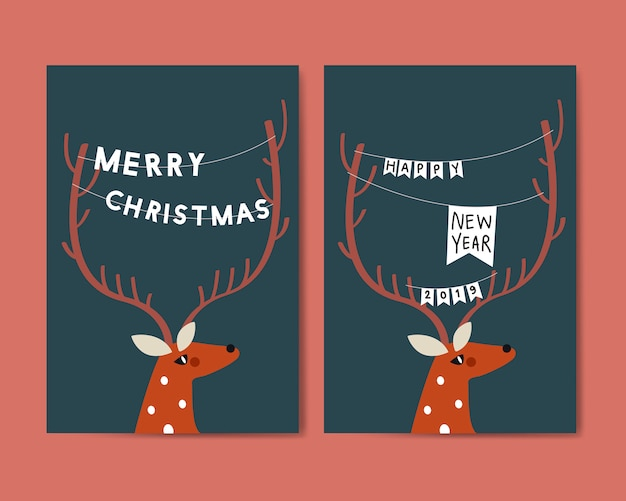 Merry christmas postcard design vector