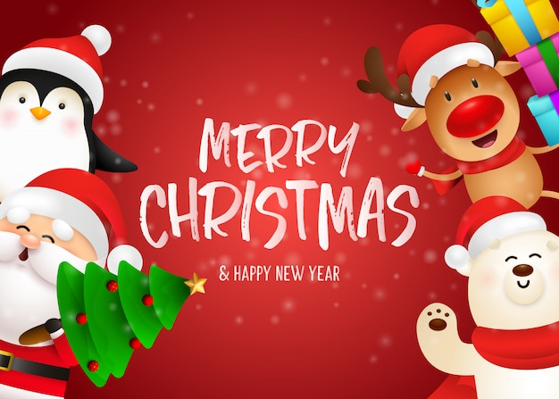 Merry christmas postcard design