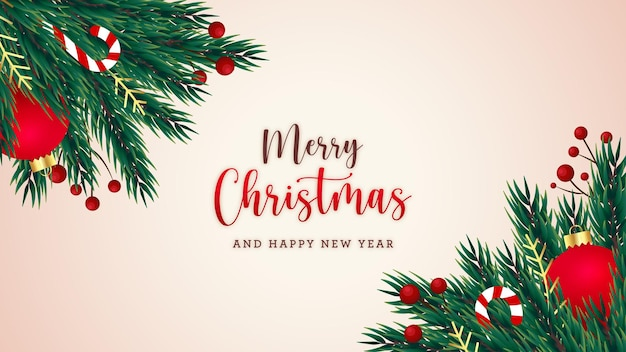 Merry christmas postcard with fir tree berries and decorative elements