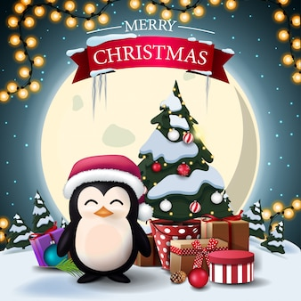 Merry christmas, postcard with penguin in santa claus hat and christmas tree in a pot with gifts