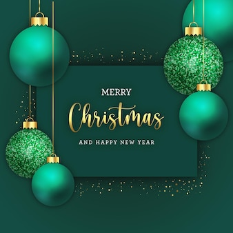 С рождеством христовым открытка с реалистичными шарами и блеском