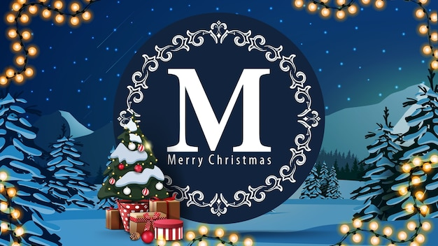 Merry christmas, postcard with round logo, garland, christmas tree in a pot with gifts and winter landscape