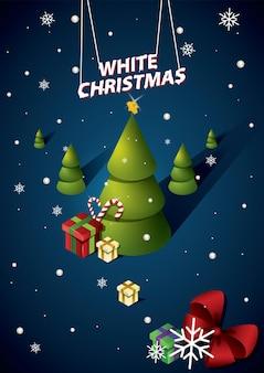 Merry christmas poste xmas party с подарочной коробкой, зеленые сосновые ветки, леденцы и ягода падуба