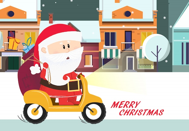 Merry christmas poster. cartoon santa claus riding bike