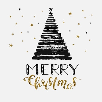 Merry christmas poster concept vector greeting card for christmas with grunge christmas tree