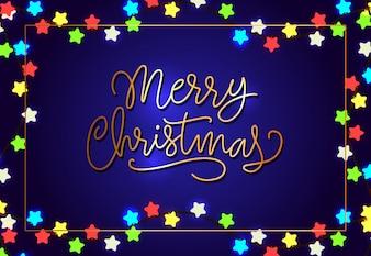 Merry Christmas poster design. Star shaped lights