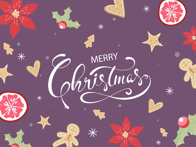 Merry christmas poster design with flower, holly berries, passion fruit, star fruits, gingerbread, xmas tree, hearts cookies on purple background.