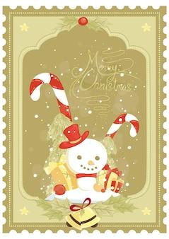 雪だるまサンタクロース帽子ギフトボックスキャンディケインと氷の粒子とメリークリスマスのポスターデザイン