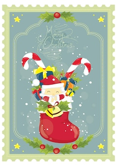Merry christmas poster design with snowman santa clause hat gift box candy cane and ice particles
