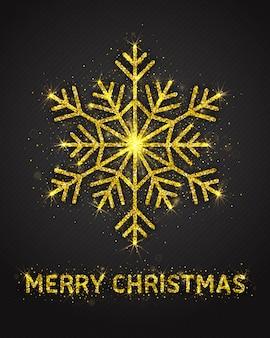 메리 크리스마스 포스터 반짝이 장식 프리미엄 벡터