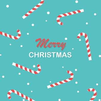 Шаблон плаката с рождеством христовым новогодний узор конфеты и снег фон