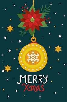 Merry christmas poster with ball decorative and flowers