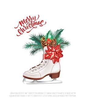 緑のヒイラギの葉とメリークリスマスのポスター
