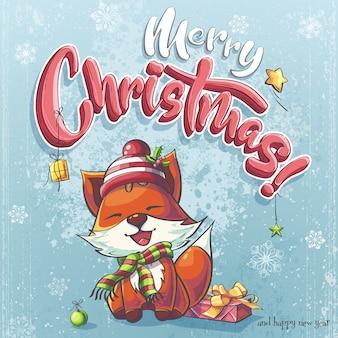 С рождеством христовым плакат со счастливой лисой