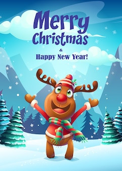 Merry christmas poster with happy reindeer