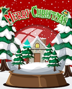 Merry christmas poster with house in glass dome winter