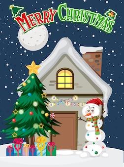 雪だるまと冬の家とメリークリスマスのポスター