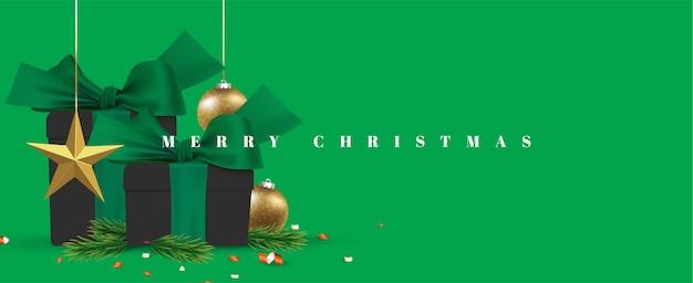 С рождеством христовым подарком реалистичная иллюстрация баннер