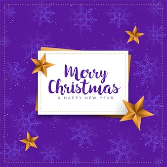 Merry christmas purple card with golden stars background