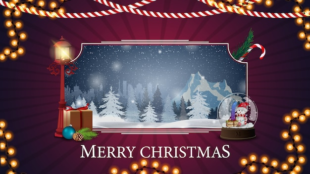 Merry christmas, purple postcard with winter landscape
