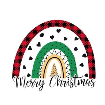 메리 크리스마스 무지개 흰색 배경에 고립