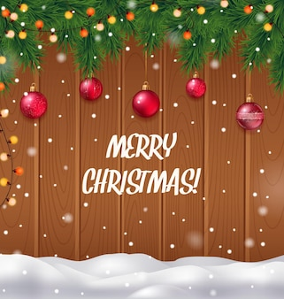 Merry christmas realistic background with christmas tree and snowfall